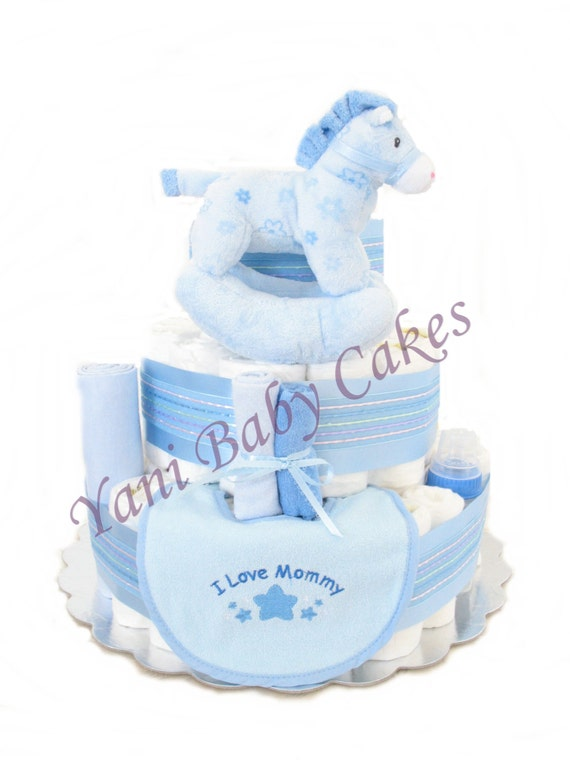 Baby Shower Cakes For Sale ~ Baby diaper cake shower centerpiece sale pretty blue