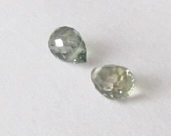 Genuine Green Sapphire, Drilled Briolette, Lot (2) of 0.66 carat