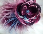 Inspired by Disney fascinator- Mulan, pink, brown, cranberry, and blue flower/photography prop, whimsical elegant fascinator