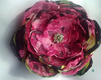 Hot for zebra print flower, zebra hot pink and lime green accessory, zebra print wedding accessory/photography prop