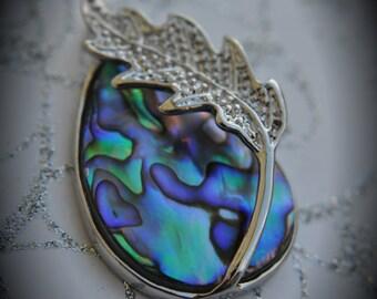 Genuine Silver Plated Abalone Teardrop Pendant