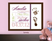 DIY Printable Birth Announcement Footprint Wall Art  - Custom