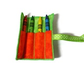 Crayon Case -  Mini Crayon Roll -  Travel Crayon Case - Small Crayon Case - Easter Basket Filler -Travel Art Set -  Small Gifts for Kids -