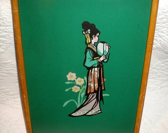 Asian Art Print With Faux Bamboo Frame