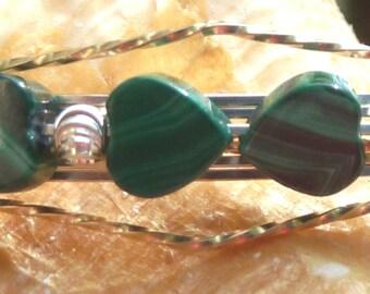 Malachite Heart Wire Wrap Bracelet