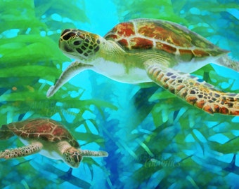 Swimming Sea Turtles, Turtle Art, Sea Turtle Painting, Print, Beach Decor, Ocean Art, Green Sea Turtle, Fine Art Print  in Various Sizes