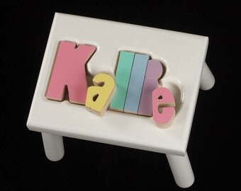 Free Shipping Maple 2 Step Name Puzzle Stool By