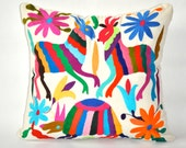 ON SALE -  Free Shipping - Hand Embroidered Otomi Pillow Cover - Multi Colour. Ready to Ship.