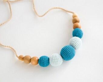 Nursing / Babywearing Necklace, Crochet Teether, Aquamarine, Blue, Eco-Friendly Jewelry - FrejaToys