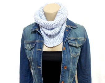 Personalized Scarf, Knit Infinity Scarf, Knit Chunky, Circle Infinity Scarf, Blue, Wrap cowl, Knit Cowl, Chunky Knitted Cowl in Blue
