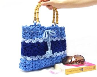 Crochet Net Bag : bag, Blue Bag , Striped bag, Crochet Purse, Handmade, Spring bag, Net ...