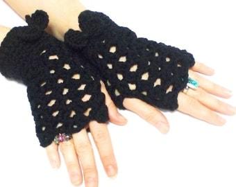 Mesh gloves, Mittens, Fingerless Gloves, Black, Crochet fingerless gloves, Sexy, Teenage, Victorian gloves, Tie, Crochet tie, Boho mittens