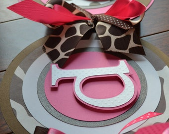 Happy Birthday Banner Giraffe Polka Dot Pink,White Brown,
