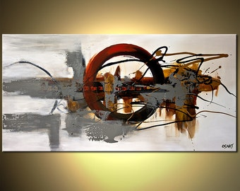 """Abstract PRINT on Canvas, Embellished and Ready to Hang, Art by Osnat - 48""""x24"""""""