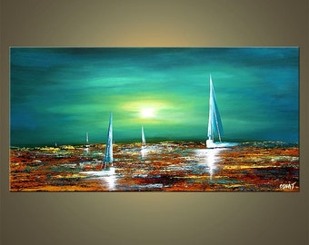 Turquoise Teal Acrylic Sailboat Painting Abstract Seascape Original by Osnat - MADE-TO-ORDER artwork