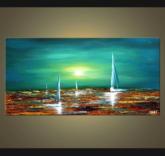 Velero acr lico teal turquesa pintura paisaje marino abstracto for Pintura turquesa pared