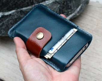 Mini teal-branch brown leather iphone wallet case