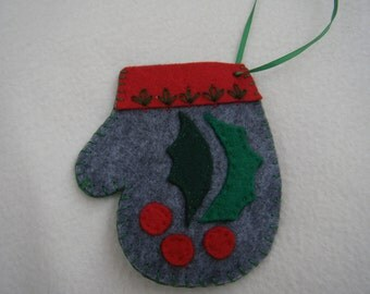 Grey Holly Leaves Felt Christmas Mitten Ornament/Gift Card Holder - HANDMADE BY ME