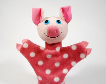 Animal hand puppet for children - piggy Lucy