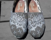 Handpainted Custom TOMS Shoes - Painted Lace