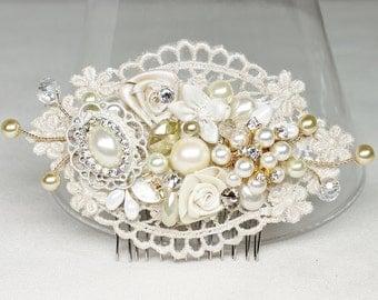 Gold & Ivory Bridal Comb or Clip- Lace Bridal Hair Clip- Bridal Hair Comb- Ivory Wedding Hair Accessories- Light gold Comb -Brass Boheme