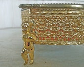 Vintage Brass Filigree Ormolu Casket BoxBrass Filigree Box
