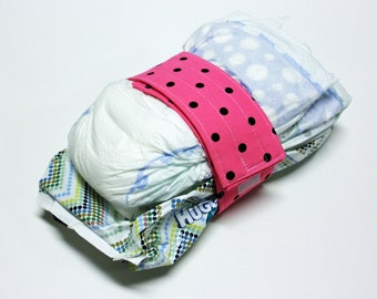 Hot Pink Diaper Strap - Black Small Dots on Hot Pink