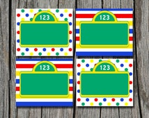 INSTANT DOWNLOAD -  Sesame Street Folding Food Tent Label Dinner Buffet Cards or Tags