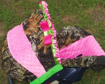 Mossy Oak Lime green Pink Minky baby car seat cover infant seat cover slip cover Camo  Graco fit