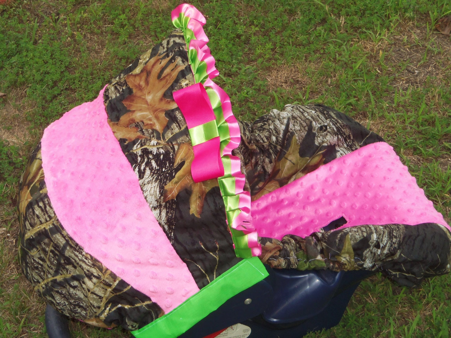 Mossy Oak Lime Green Pink Minky Baby Car Seat By