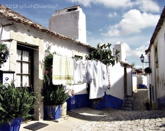 LAUNDRY DAY, Fine Art Photography. Obidos, Portugal, 9 x 12