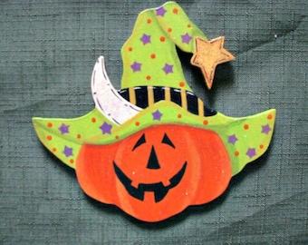 pumpkin head, green witch's hat, halloween, moon, handpainted, wood
