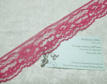 1 yard of 1 1/2 inch Fuschia Pink Chantilly lace trim for bridal, baby, wedding, valentines, romantic, couture by MarlenesAttic - Item BB7