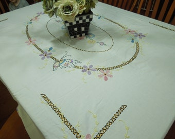 Vintage White Floral Embroidered Kitchen Dining Luncheon Tablecloth with a pastel hand crochet border by MarlenesAttic