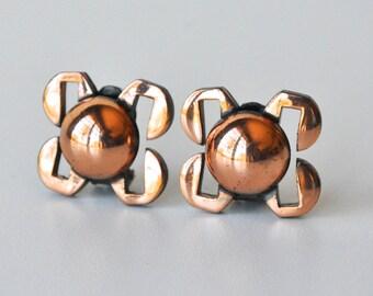 Vintage Renoir Copper Geometric Clip On Earrings