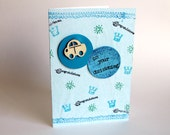 Personalized Baby Boy Christening Card - Handmade greeting card for baptism with toy car
