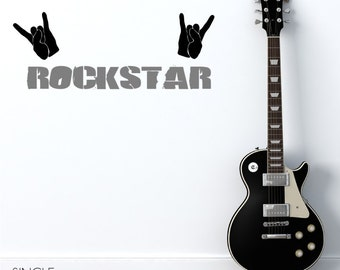 Rock Star Music Wall Decal - Vinyl Sticker Art