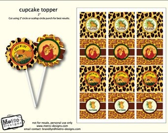 Lion King Inspired Baby Shower - Cupcake Toppers