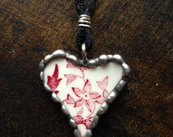 Vintage Broken China Valentine Necklace