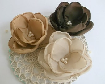 Brown, Chocolate, Antique Pink flowers in handmade, Bridesmaids accessories, Hair clip, pin, Brooch, Shoe Clasp, Weddings, Birthday Set of 3