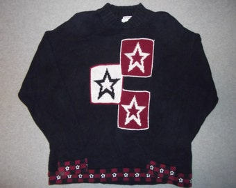 Red White and Blue Stars Sweater 4th of July Fourth Tacky Gaudy Ugly Christmas Party X-Mas Long Sleeve w/ Shoulder Pads XL Extra Large