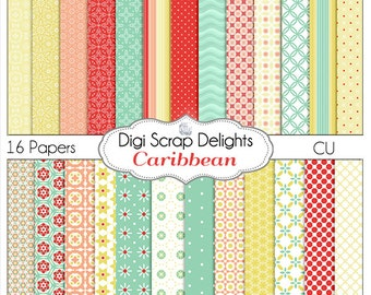 Caribbean Digital Scrapbook Paper in Tropical Red, Coral, Sand and Seafoam Green,  Instant Download
