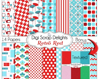 Retro Red, Aqua, Turquoise Digital Papers, Backgrounds for Digital Scrapbooking, Card Making, Phone Covers, Web Design, Instant Downloa