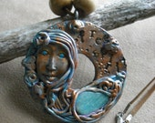 "Polymer Clay ""Free Spirit"" Pendant/Necklace- Free Spirit,New Age,Gypsy,Fantasy Style"