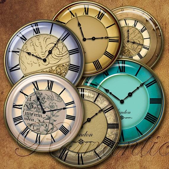 1 inch circle Vintage Clock Faces printable digital collage