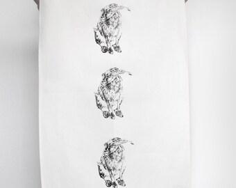 Hand Printed Hare Tea Towel
