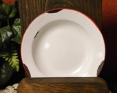 Enamelware Plate, Handmade Wood Display, Primitive Accents, Farmhouse Style, Colonial Decor