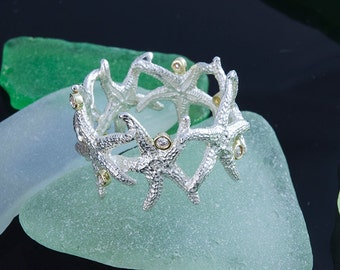 PLATINUM STERLING STARFISH Ring w Diamond accents