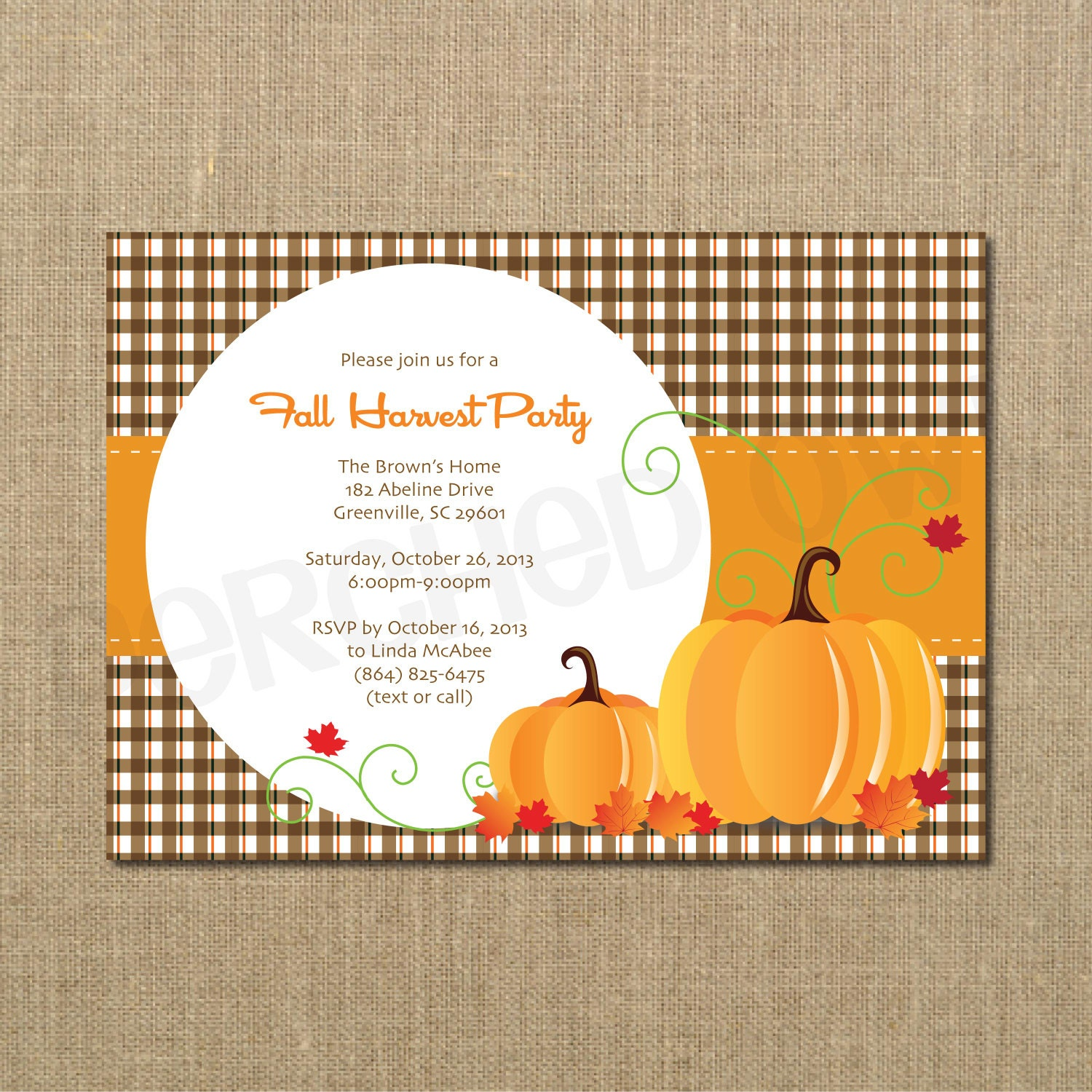 Fall Party Invitation Family Gathering Reunion Harvest