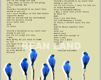 Charles BUKOWSKI POSTER - The Bluebird poem - collage poster of Illustrated poem